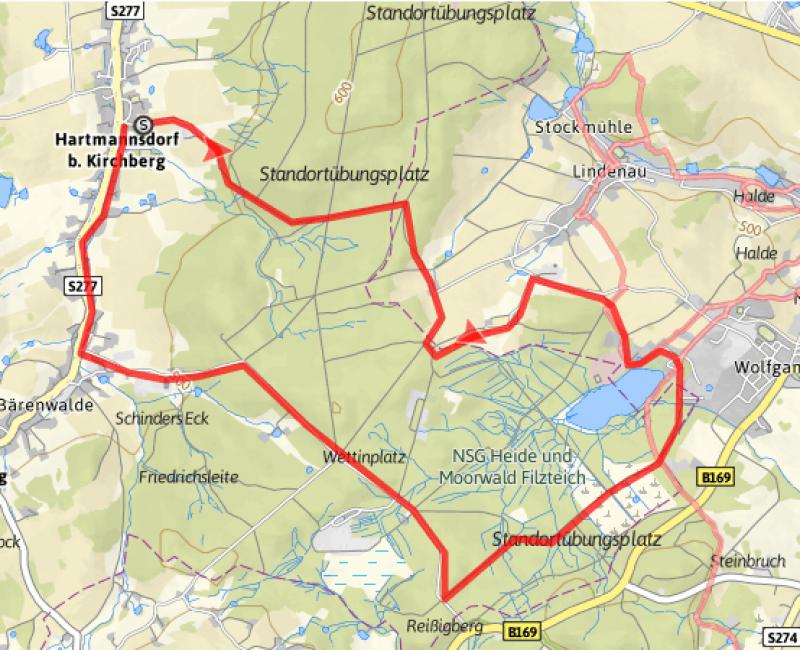 Wanderweg zum Filzteich 14 km