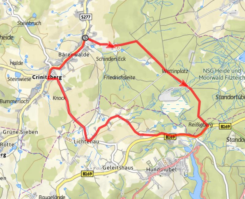 """nach Jahnsgrün, Torfstich, """"Lichte Aue"""", Lochmühle 12 km"""